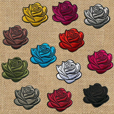 1pc Rose Flower Embroidered Applique Patch Iron On badge motif #541