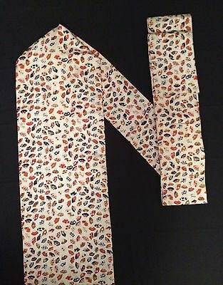 Vintage authentic Japanese Nagoya obi for kimono, mixed colours, sensu (E599)