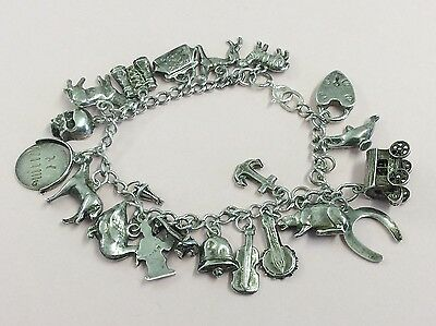 Vintage Sterling Silver Charm Bracelet With 20 Charms 1950