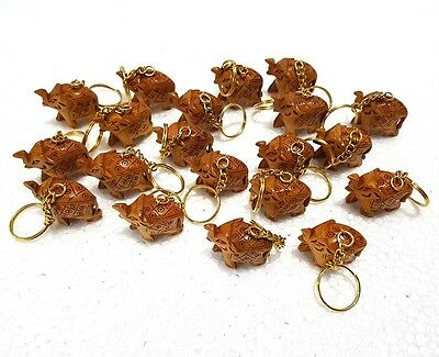 Lot 12Pcs Indian Hand Carved Wooden Elephant Key Chain Collectible Gift Items