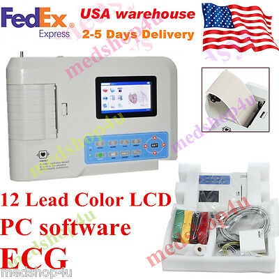 New CE FDA ECG300G With Printer 12 Leads Digital 3 Channel ECG / EKG Machine hot