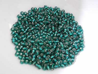 50g 4mm 6/0 Glass Seed Beads  TEAL BLUE Transparent Silver Lined