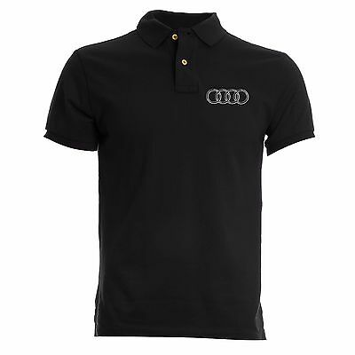 Polo T-Shirt Black Ricamo Embroidery Patch Audi Logo