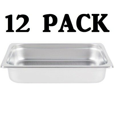"10 PACK Half Size Stainless Steel 2 1/2"" Deep Steam Prep Table Chafing Dish Pan"