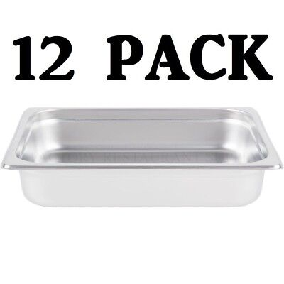 "12 PACK Half Size Stainless Steel 2 1/2"" Deep Steam Prep Table Chafing Dish Pan"