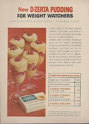 D Zerta Pudding for Weight Watchers Vintage Ad 1957