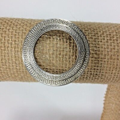 Brushed Silver Tone Circle Brooch Pin Costume Jewelry Double Circle Open Center