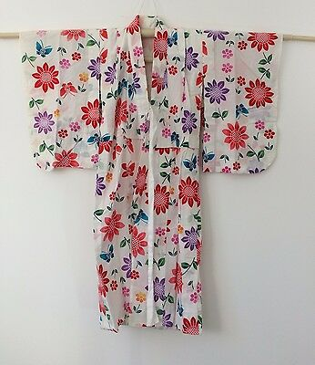 Authentic Japanese yukata for little girls, kimono, made in Japan, used (H1185)