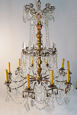 Antique Bronze, Crystal & Carved Wood Chandelier circa 1910 / Versailles style