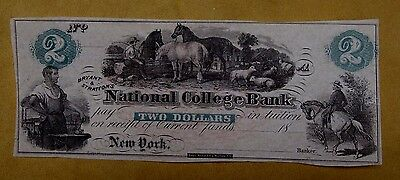 19th C Bryant & Stratton's National College Bank Note $2 New York