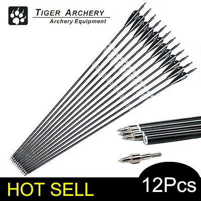 12pcs Spine500 Arrows Black Feather Fiberglass Long Bow Archery Practise Hunting