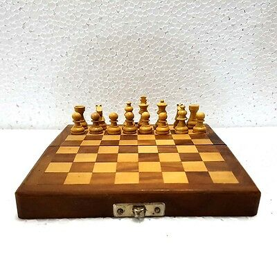 Indian Wooden Pieces Chess Set Folding Board Box Wood Hand Carved Gift Kids Toy