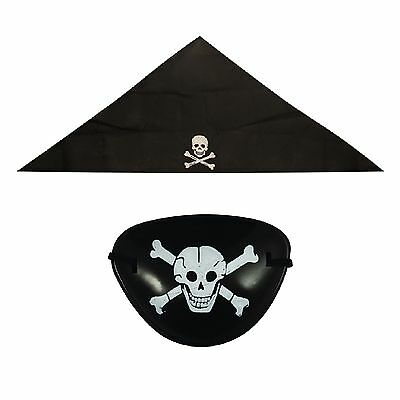 Pirate Fancy Dress BANDANA AND EYE PATCH Accssories Dressing Up Boys Children