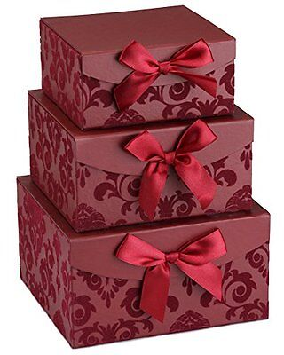 Red Swirl Nesting Elegant Christmas Gift Boxes, Set of 3, With Bows, Magnetic Cl