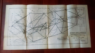 1910 Ismailian Commission Panama Canal Triangulation Map Culebra Canal Zone