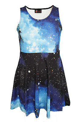 Kids / Girls Cute Blue Galaxy Space Universe Print Skater Dress Size 5 -10 Years