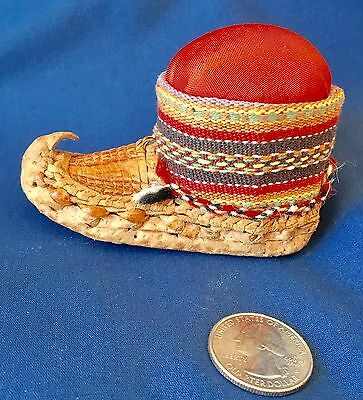 Antique Moccasin Whimsy Pin Cushion ~ Woven Leather  ~  Lovely!