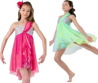 Dance Costume Small & XL Adult Green pink Silver Lyrical Dress DUET Competition