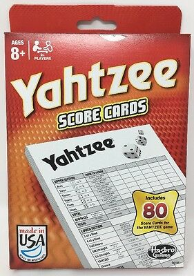Hasbro Gaming Yahtzee Score Cards - BRAND NEW 80 Score Card Pack