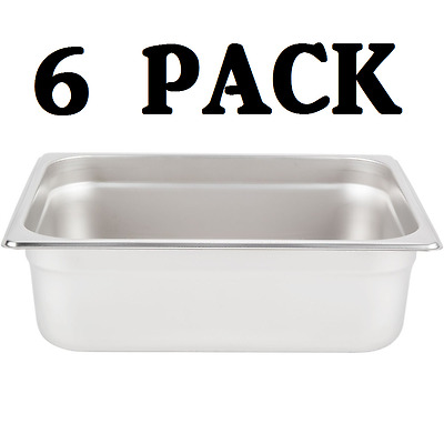 "6 PACK Half Size Stainless Steel 4"" Deep Steam Prep Table Pan Chafing Dish 1/2"