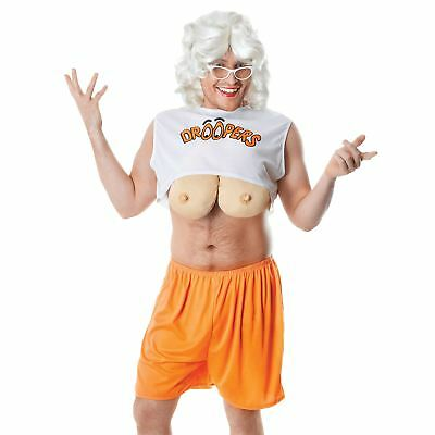 Adult Droopers Hooters Costume Waitress Mens Fancy Dress Stag Party Fake Boobs