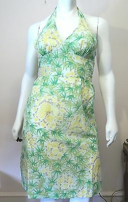 Sun Fashions of Hawaii Vintage Hawaiian Dress Green Floral New Without Tags