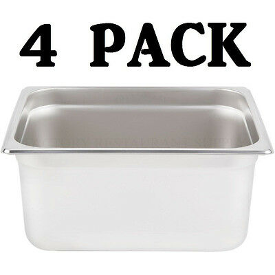 "4 PACK Half Size Stainless Steel 6"" Deep Steam Prep Table Pan Buffet Hotel 1/2"