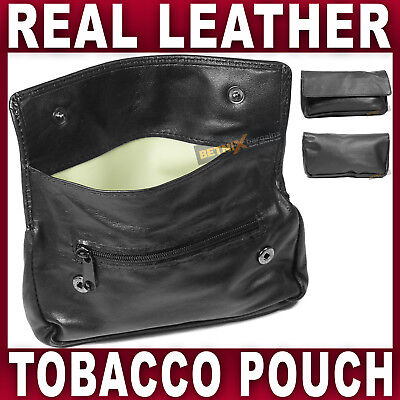 Black REAL LEATHER TOBACCO POUCH rubber lining pocket for Rolling paper lighter