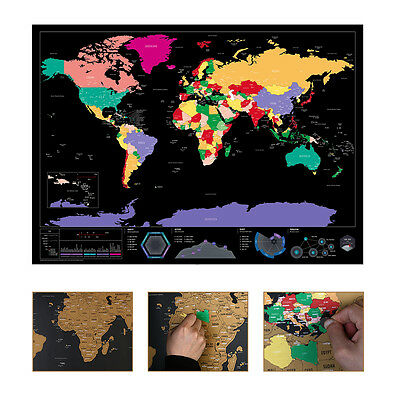 Deluxe Travel Edition  World Map Art Poster Personalized Journal Log