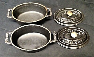 Staub Cast Iron .25 Quart Mini Oval Cocotte Matte Black LOT OF 2