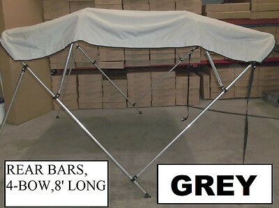 Pontoon 91-96 Inch Grey Boat Bimini Shade Canopy Top Cover Bikini 4 Bow Gray