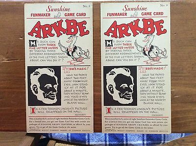 (2) Vintage 1932 Sunshine Biscuits And Cracker Co Premium Game Cards!!!!