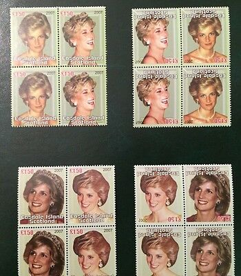 #522 Philatrade INVERTED  Easdale Is 2007 Princess Diana in Memoriam blocks MNH