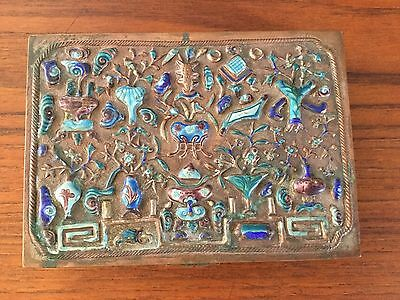 Vintage Chinese Repousse Enamel Scholar's Box  Circa Early 20th Century
