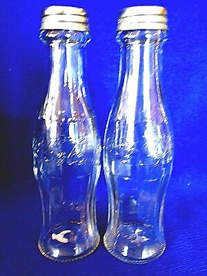 Collectible COKE/COCA COLA Glass Bottle Shaped Salt & Pepper Shakers