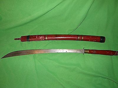 Vintage Burmese Long Sword, Wood Handle & Scabbard