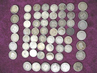 Lot / Group of 59 Sterling Silver 6 Pence and 3 Pence, Australia & Great Britain