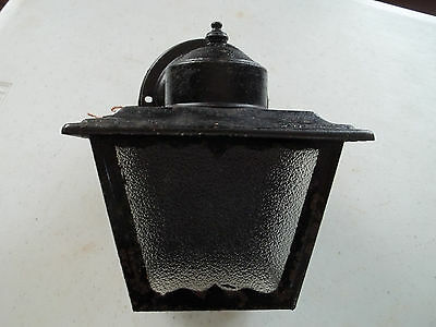 Rustic Black Porch Light, Textured Glass Panels, New Wiring, Free S/H