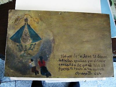 1940's Exvoto On Tin With A Couple Thanking Our Lady Of San Juan For Favor