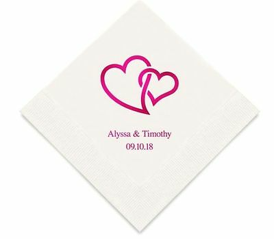 Personalized Double Linked Heart Hearts Design Printed Wedding Reception Napkins