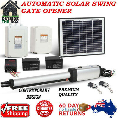 New Automatic Solar Swing Gate Opener Kit 2 X Remote Control 500kg Single Gates