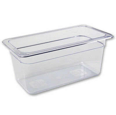 "1/3 Size Polycarbonate Clear Plastic Steam Prep Table Food Pan 6"" Deep"