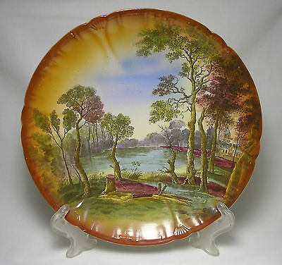 Antique Franz Anton Mehlem Ceramic Plate Woodland Lake Decor Stamped and Marked