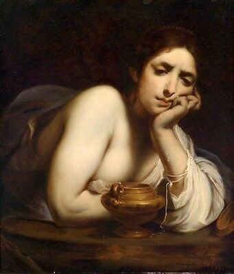 Stunning oil painting young woman tears with copper pot by table Hand painted