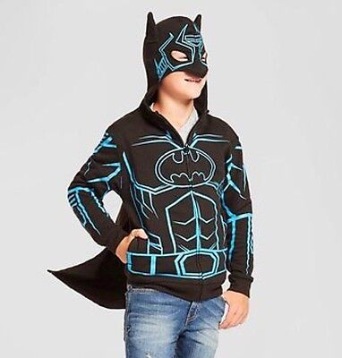 "NWT BATMAN ""GLOW IN THE DARK"" HOODIE  WITH REMOVEABLE CAPE Boys SIZE XL full zip"