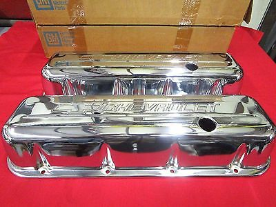 New Set Of Gm #10051176 Big Block Chevy Valve Covers Tall Style,bowtie Logo