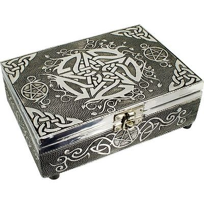 White Metal Lined Box , Pentacle, Wiccan Altar box, Crystals or Tarot Storage