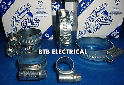 Genuine Jubilee Clips, Mild Steel Worm Drive Clamps for Hose, Air, Gas