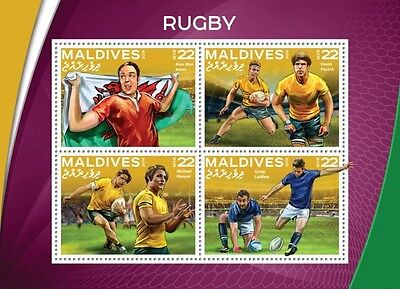 Z08 IMPERFORATED MLD16503a MALDIVES 2016 Rugby MNH