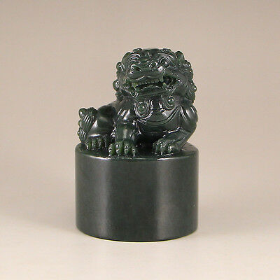 Chinese Green Hetian Jade Lion Seal